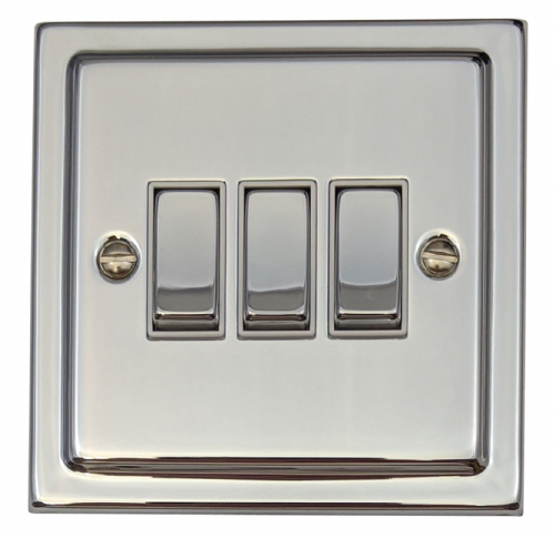 G&H TC203 Trimline Plate Polished Chrome 3 Gang 1 or 2 Way Rocker Light Switch